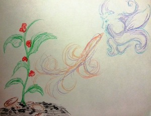 Drawn for me by a lady at my church (a stranger at the time) who didn't know my story, but she said felt like God was saying He was making a beautiful flower from the ashes.